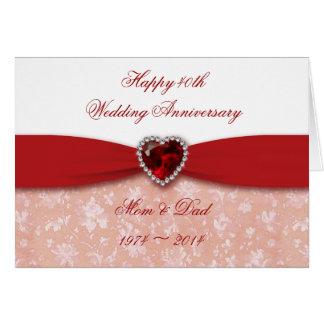 Design do aniversário de casamento do damasco 40th cartão