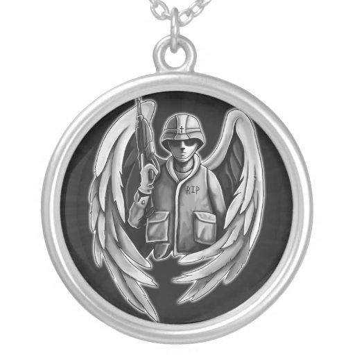 Design do anjo do soldado pingentes