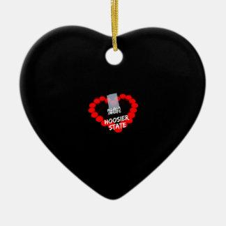 Design do coração da vela para o estado de Indiana Ornamento De Cerâmica Coração