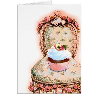 Design do cupcake do tea party cartoes
