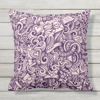Design do Doodle do amor Travesseiro