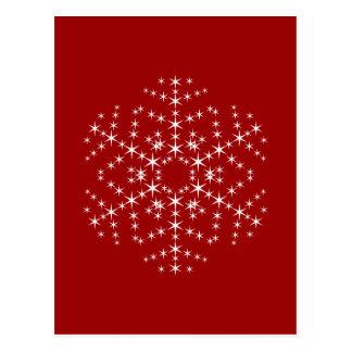 Design do floco de neve na obscuridade - vermelho cartão postal