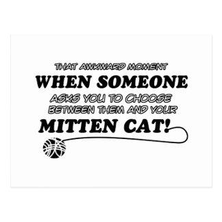 Design do gato do mitene cartão postal