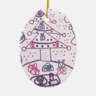 design do Natal Ornamento De Cerâmica Oval