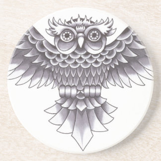 Design do tatuagem da coruja da velha escola porta copos de arenito