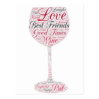Design do vinho dos melhores amigos cartão postal