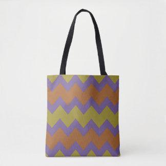 Design do ziguezague de Chevron em cores naturais Bolsas Tote