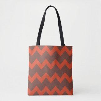 Design do ziguezague de Chevron vermelho marrom Bolsas Tote