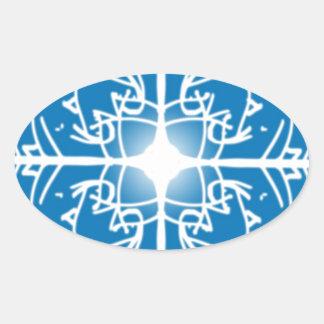 design dos feriados do Natal do floco de neve Adesivo Oval