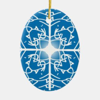 design dos feriados do Natal do floco de neve Ornamento De Cerâmica Oval