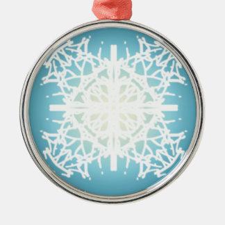 design dos feriados do Natal do floco de neve Ornamento Redondo Cor Prata