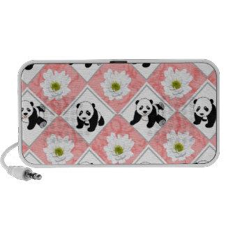 Design dos ursos de panda e do conselho de verific caixinha de som portátil
