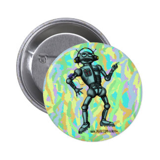 Design engraçado do botão do robô da música boton