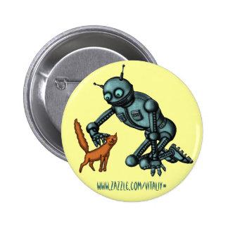 Design engraçado do botão do robô e do gato pins