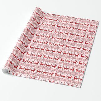 Design feio do teste padrão da camisola do feriado papel de presente