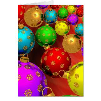 Design festivo dos ornamento da árvore de Natal do Cartão Comemorativo