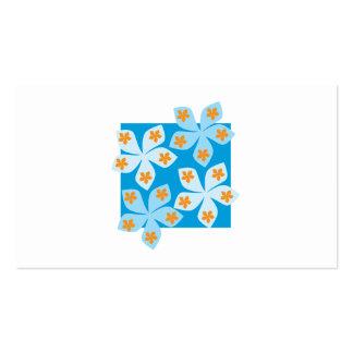 Design floral bonito, azul, laranja e branco cartão de visita