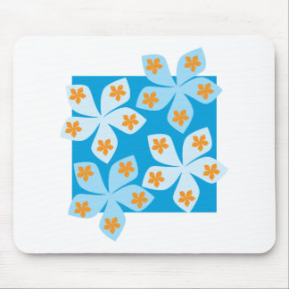 Design floral bonito, azul, laranja e branco mousepad