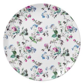 Design floral cor-de-rosa dos rosas e das flores prato