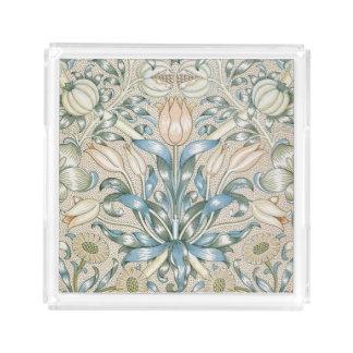 Design floral da arte do vintage do lírio e da bandeja de acrílico