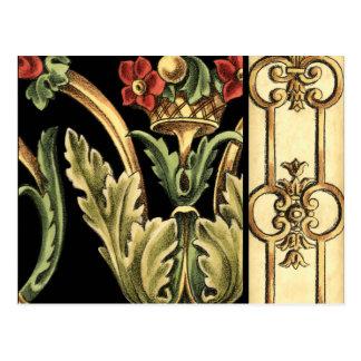 Design floral decorativo com beiras pretas cartão postal