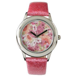 Design floral elegante abstrato relógios