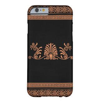 Design floral preto e alaranjado do estilo grego capa barely there para iPhone 6