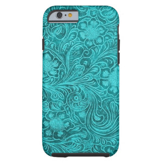Design floral retro do olhar azul esverdeado do capa tough para iPhone 6