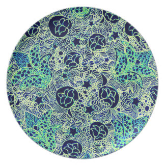 Design floral verde e azul para sua placa louças de jantar