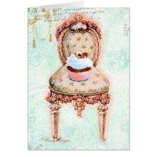 Design francês do cupcake do tea party cartão comemorativo
