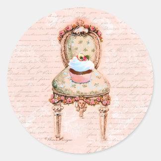 Design francês do Victorian do cupcake do tea Adesivo Redondo