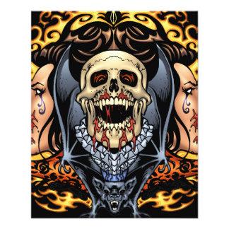 Design gótico dos crânios, dos vampiros e dos flyer