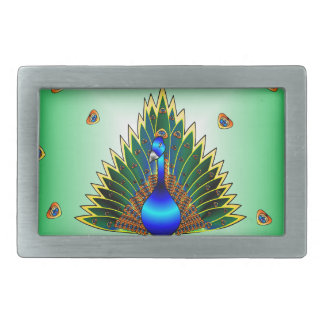 Design gráfico do pavão com fundo azul esverdeado