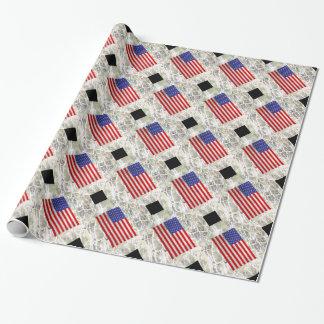 Design metálico da bandeira americana papel de presente