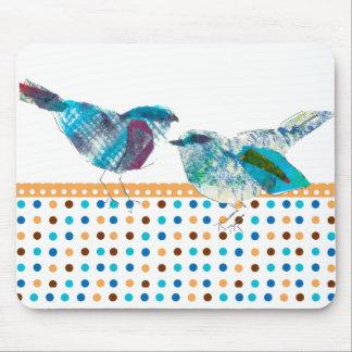 Design moderno do pássaro azul retro bonito das bo mouse pad