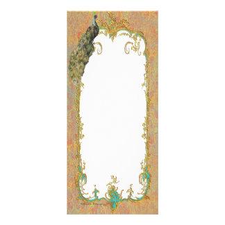 Design ornamentado da arte do pavão n Paisley 10.16 X 22.86cm Panfleto