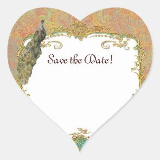Design ornamentado da arte do pavão n Paisley Adesivos Em Forma De Corações