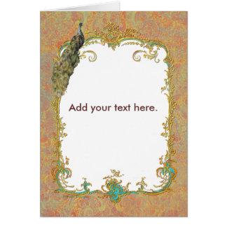 Design ornamentado da arte do pavão n Paisley Cartão Comemorativo