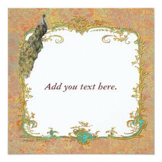 Design ornamentado da arte do pavão n Paisley Convite Quadrado 13.35 X 13.35cm