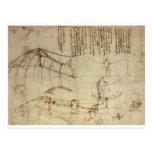 Design para uma máquina de vôo por Leonardo da Vin Cartao Postal