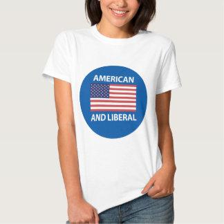 Design patriótico americano E liberal da bandeira Camiseta