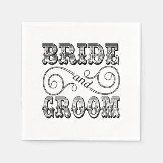 Design preto & branco da noiva & do noivo guardanapo de papel