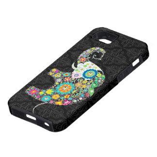 Design retro colorido do elefante da flor capa tough para iPhone 5