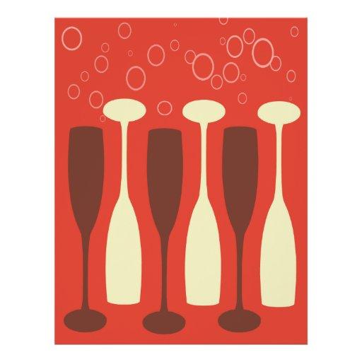 Design retro do vidro de vinho panfleto coloridos