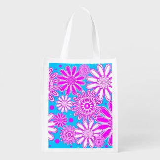 Design reusável bonito da flor do primavera sacolas reusáveis