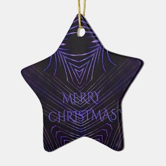 Design roxo preto do caleidoscópio do Feliz Natal Ornamento De Cerâmica