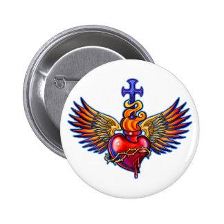 Design sagrado das asas do anjo do coração bóton redondo 5.08cm