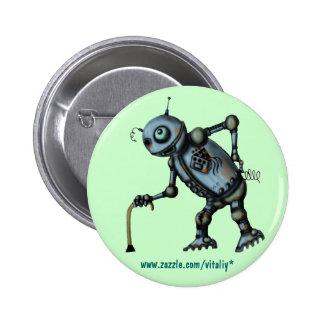 Design velho legal engraçado do botão do robô bóton redondo 5.08cm
