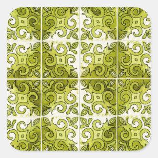 Design verde 2 do azulejo - redemoinhos adesivo em forma quadrada