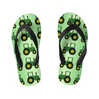 Design verde do trator chinelos infantis